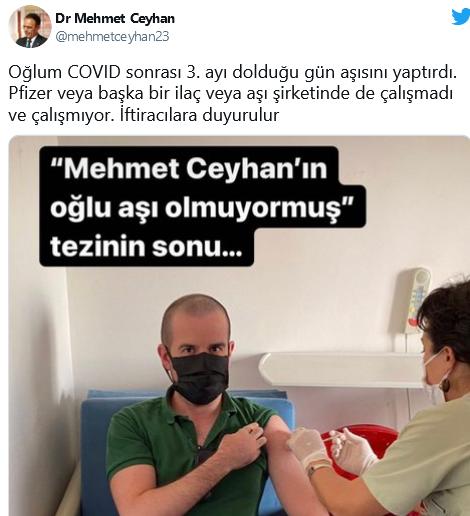 'Mehmet Ceyhan'ın oğlu aşı olmuyormuş' tezinin sonu'