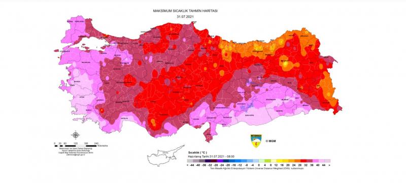 Meteoroloji'den haritalı yüksek sıcaklık uyarısı