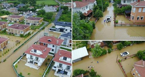 Şile'de sağanak yağış: Evler, hayvanlar su altında kaldı