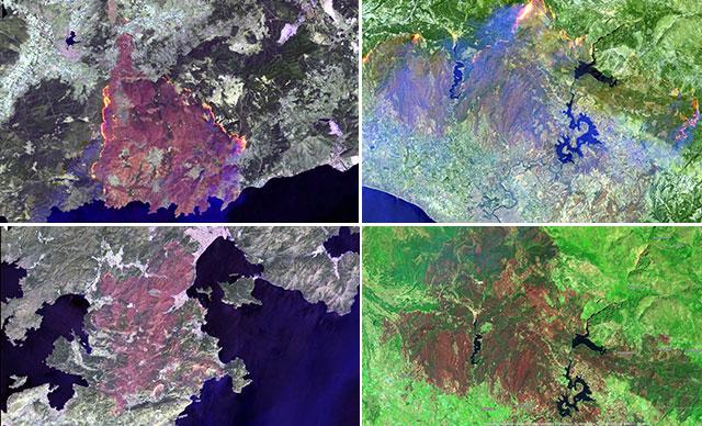 Türkiye'yi saran yangınlarının uydu görüntüsü paylaşıldı
