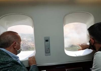 Erdoğan felaket bölgesine gitti, havadan incelemelerde bulundu