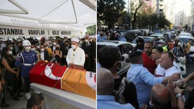 Ferhan Şensoy'un cenazesinde gerginlik: Tabuttaki bayrağı gören holiganlar slogan attı