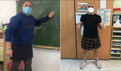 İspanya'da erkek öğretmenler etek giydi