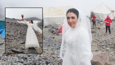 Şiddete dikkat çekmek için Ağrı Dağı ile evlendi